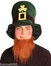 Green Irish Hat with Ginger Beard Leprechaun St Patricks Day Fancy Dress Costume