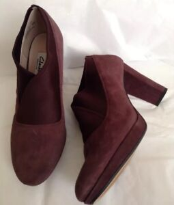 New-CLARKS-Uk-6-D-Kendra-Mix-Aubergine-Suede-Shoes-Ankle-Boots-Heels-Office
