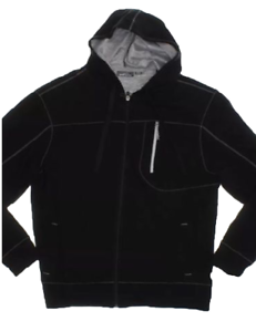 Eddie Bauer Men/'s Hooded Full Zip Jacket  Black with Gray