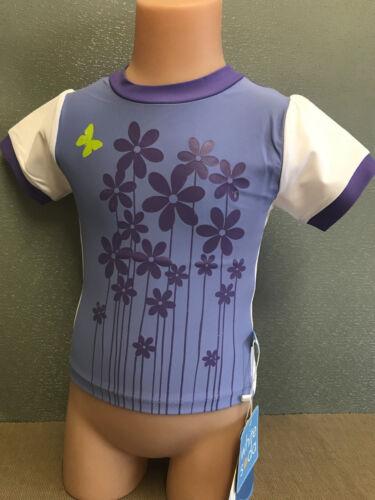 BNWT Girls Size 8 White Soda Brand Purple Flowers Short Sleeve Rash Vest UPF 50+