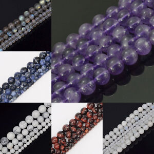 Wholesale-natural-gemstone-4-mm-6-mm-8-mm-10-mm-Round-Loose-Beads-Strand-15-034-Pick
