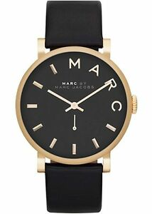 New-Marc-By-Marc-Jacobs-Ladies-Watch-Baker-Gold-Tone-Black-Leather-Strap-MBM1269