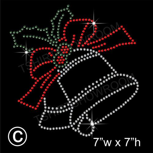 Christmas Bells Rhinestone//Diamante Transfer Hotfix Iron on Motif free gift