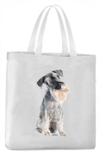 Tragetasche mit Bild Schnauzer grau Hund Beutel Einkaufstasche Stoff Tasche