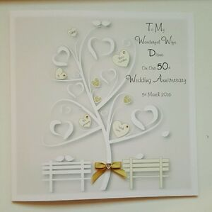 large personalised 50th golden anniversary card wife husband any