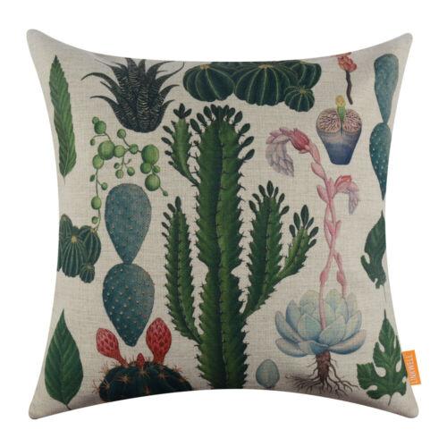 """Summer Palm Leaf Green Cushion Cover Throw Pillow Case Cactus Tropical Decor 18/"""""""