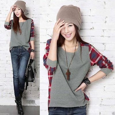 Ladies Girl`s Plaid Checked Long Sleeve Casual Loose T shirt Tops Blouse Hot