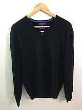 ALAN FLUSSER Cashmere V-Neck Sweater Pullover MEDIUM Black