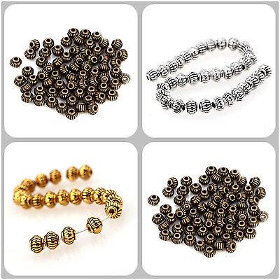 100-500pcs 5*4mm Perle intercalaire Bijoux Antique Argenté Tibétain Métal