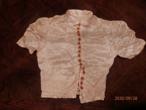 ANTIQUE SATIN BLOUSE with GLASS BUTTONS
