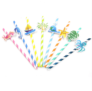 10pcs Ocean World Style Paper Straws Party Decoration Paper Drinking DIY Straws