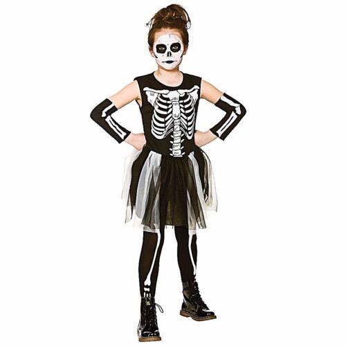 Girls SKELEBONES TUTU Halloween Fancy Dress Costume Child Skeleton 3-13 years