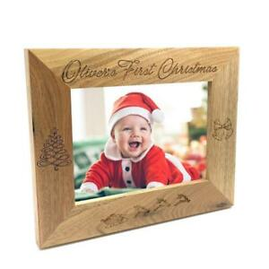 Personalised Babys First Christmas Wooden Photo Frame Gift Ebay