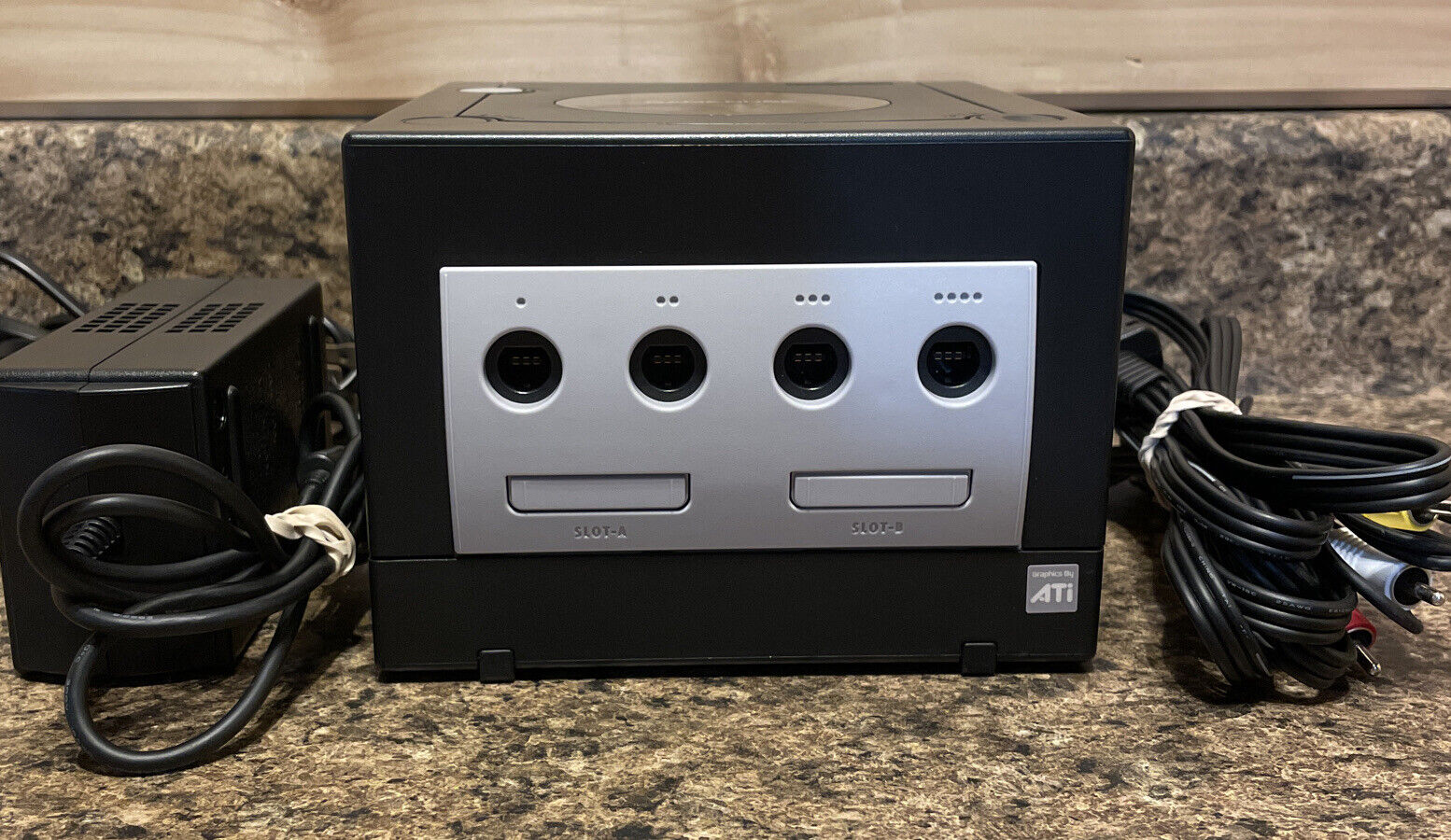 Black Nintendo GameCube Console & Cords Only (DOL-001 USA) Cleaned & Tested