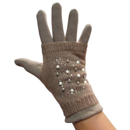 Touchscreen Handschuhe innen Teddy-Fell Handstulpe Perlen und Strass 2er Set