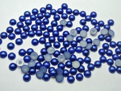 500 Royal Blue Acrylic Half Pearl Flatback Round Bead 8mm Scrapbook Craft