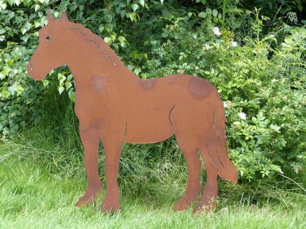 Pferd  Carlos  XXL Gartendeko Metall Edelrost Stecker