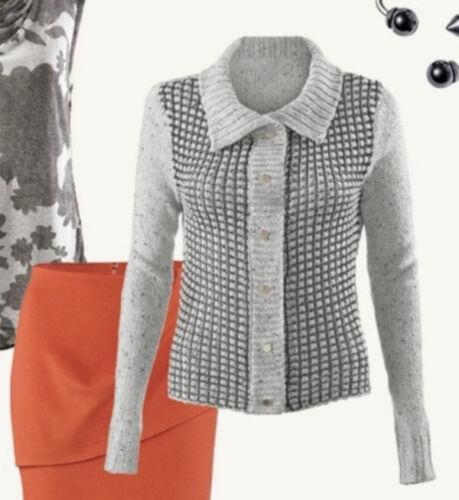 CAbi #3006 Square Stitch Cardigan Sweater Size Med