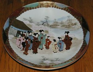 Vintage-Japanese-Charger-plate-Geisha-Gals-14-3-8-034