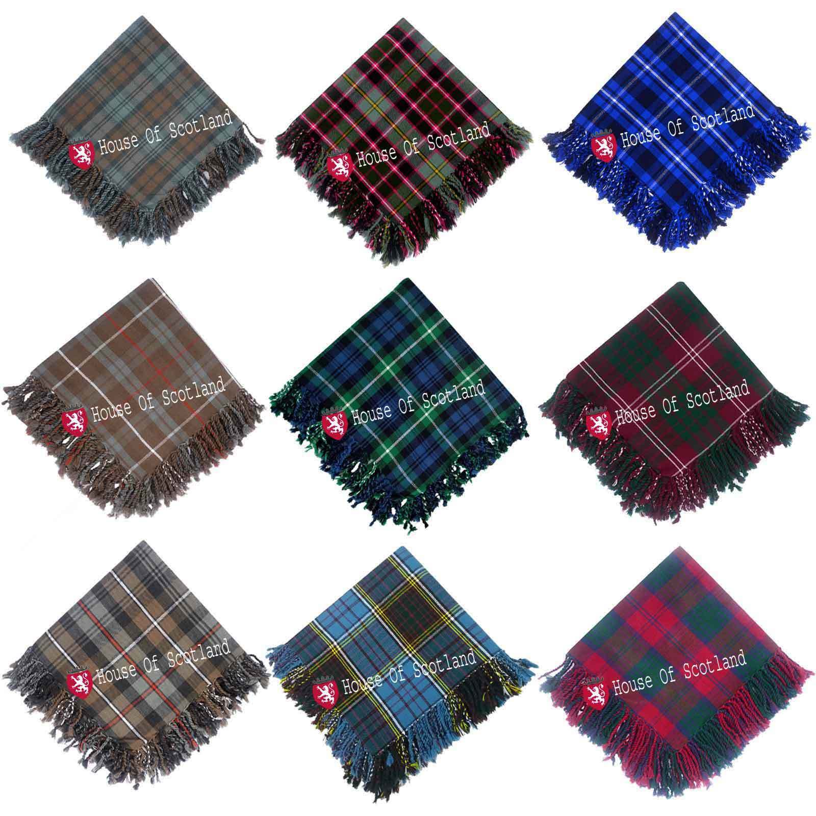Scottish Highland Kilt Fly Plaids 48''x 48'Various Tartans Purled Fringe Acrylic