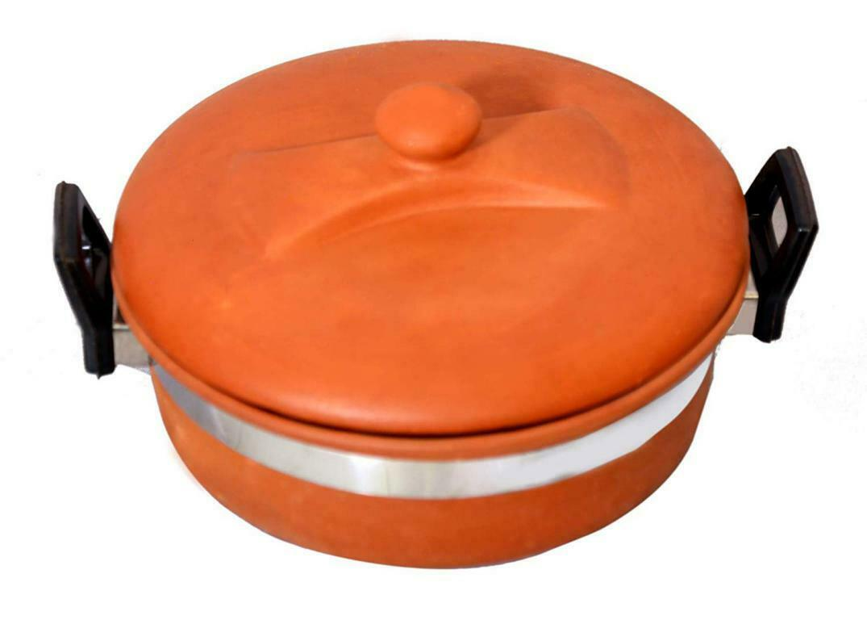 New Handmade Non toxic earthenware Terracotta Clay Large kadahi with Mitti Lid