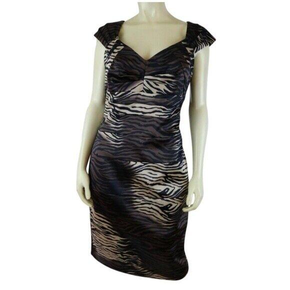 Sangria Dress 10 braun schwarz Gold Animal Print Stretch Bodycon PolySpandex Lined