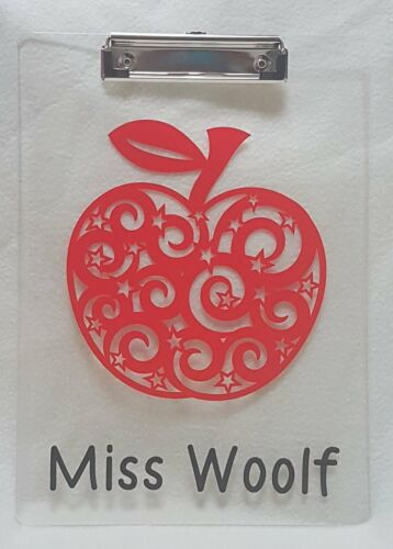 Personalised Thank you Teacher Teaching Assistant Apple Swirl Clipboard