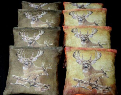 DEER HUNTING  Suede Stick and Slide 8 ACA CORNHOLE bags Stop n Go Bags