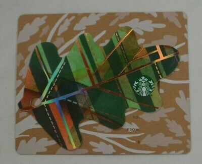 Starbucks Us Green Mini Fall Leaf 2016 Gift Card Die Cut Oak Leaves New Ebay