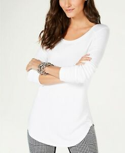5d813921441d7  160 INC CONCEPTS WOMENS WHITE RIBBED LONG SLEEVE PEASANT BLOUSE TOP ...