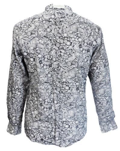 Relco Platinum Black Paisley Cotton Long Sleeved Retro Mod Button Down Shirt