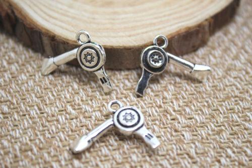 15pcs-Hairdresser Blow DryerCharms silver Hairdresser Blow pendants 22x17mm