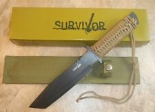 """11 1/2"""" TACTICAL HUNTING Survival Black FIXED BLADE KNIFE Army Tanto w/ SHEATH"""