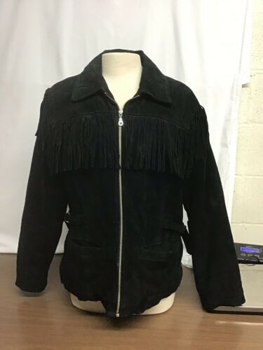Vintage Vanna White Fringe Leather Jacket Size Lar