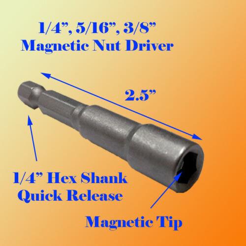 "3 Pc 2.5/"" Magnetic 1//4/"" 5//16/"" 3//8/"" Nut Driver Set Quick Rapid Release Hex Shank"