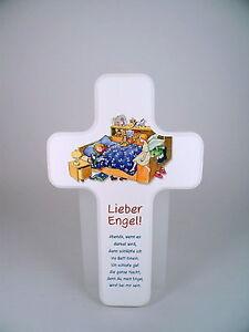 Details Zu Kinder Holz Kreuz Mit Abend Gebet Lieber Engel Weiß H 18 Cm Neu Taufe Geburt