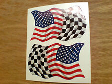 USA STARS & STRIPES & Chequered Flag Motorcycle Car Stickers Decals 2 off 80mm