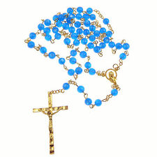 Catholic Twin Hearts Our Lady blue plastic rosary beads gold chain 51cm length