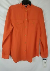Chaps-Ralph-Lauren-Women-039-s-Large-Orange-Long-Sleeve-Button-Up-Shirt-New-with-Tag