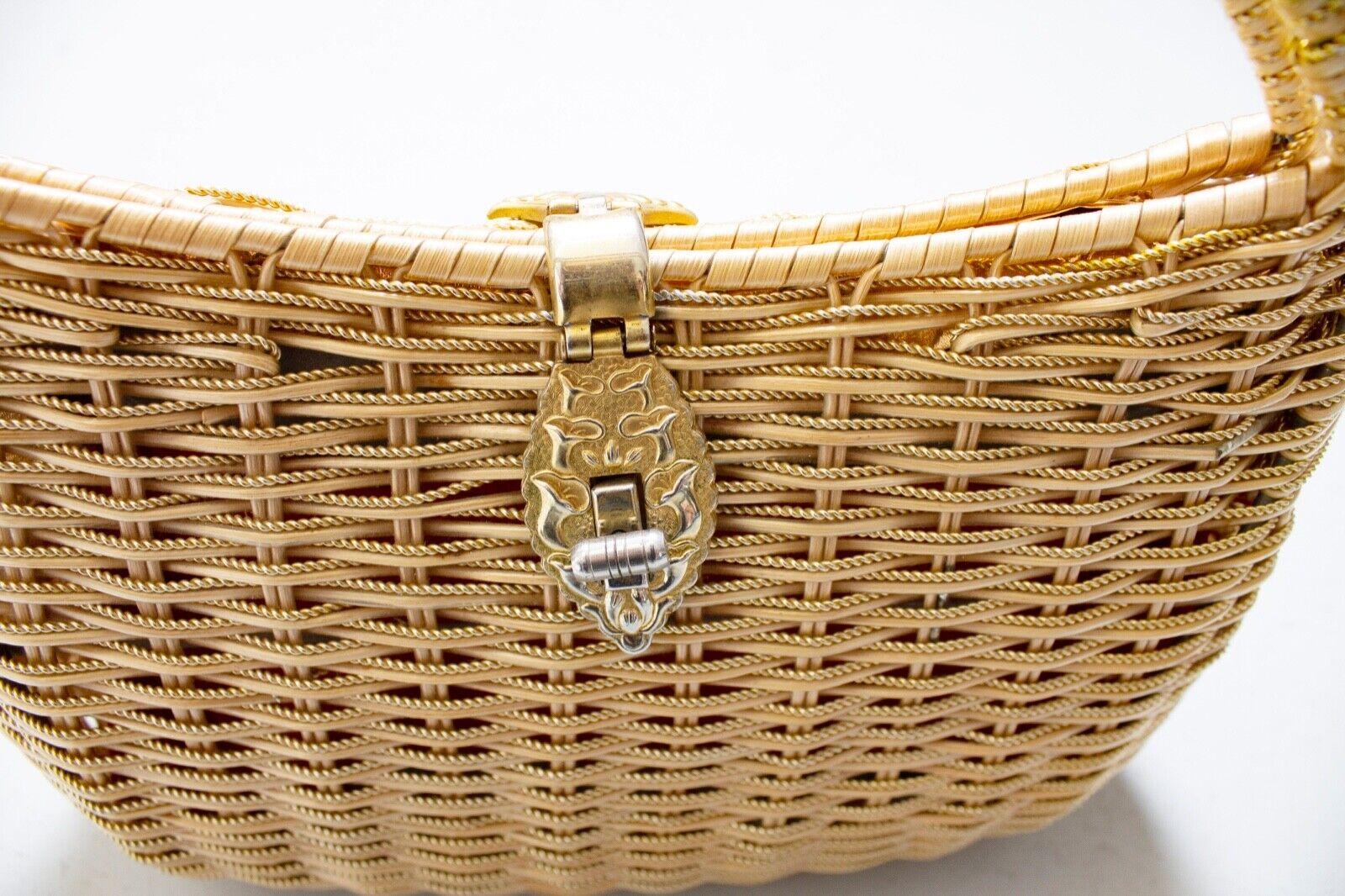 Vintage Basket Purse 1960s Gold Metal Woven Wicke… - image 8
