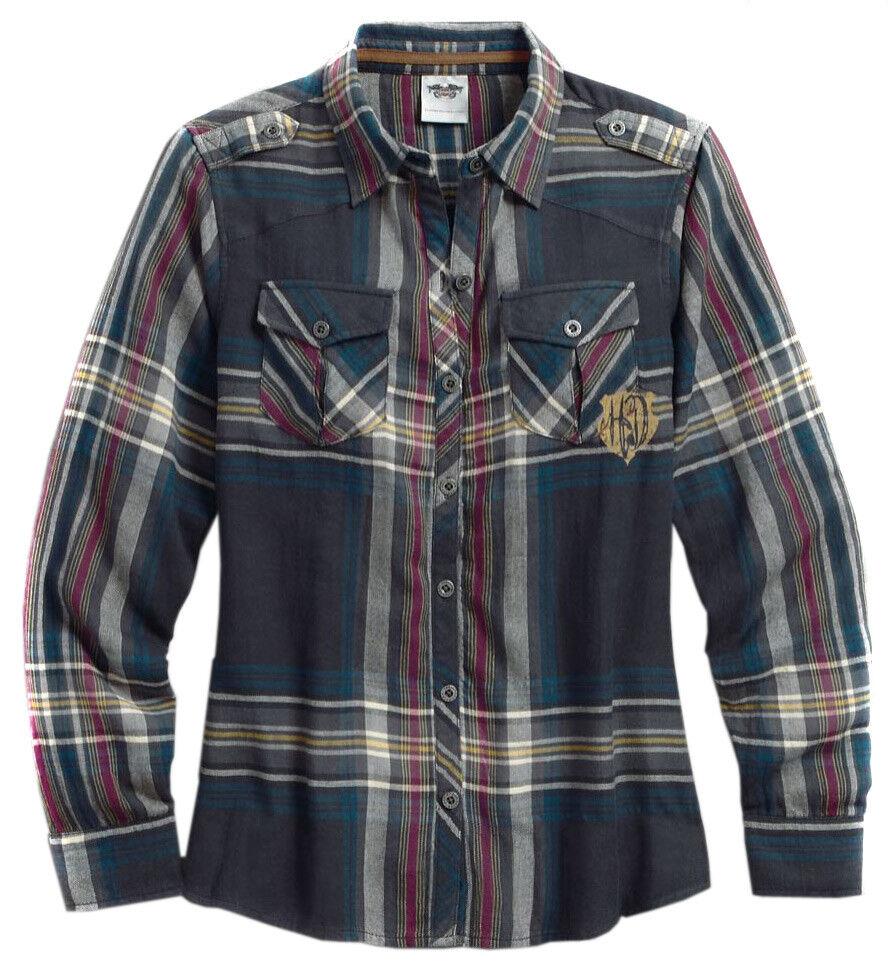 Harley-Davidson Woherren Blau Texturot Gauze And Plaid Shirt 96028-17VW