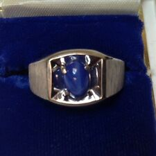 Blue Star Sapphire White Gold Men's Ring ( SYN Sapphire )j354)