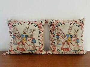 Pair-of-VINTAGE-Needlepoint-Bunny-Pillows-16-16in