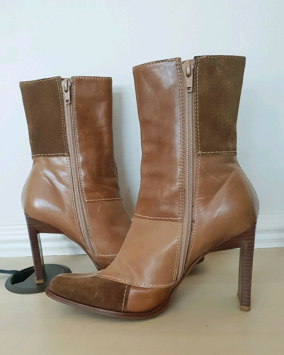 Schuh Ladies Two Tone Tan Brown Leather High Ankle Boots UK 4 EU 37