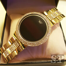 Iced Out Hip Hop Digital Touch Screen Gold Plated Lab Diamond Smart Metal Watch