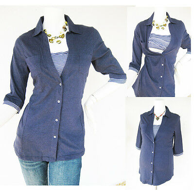 Maternity Clothing ANNA Nursing Shirt Breastfeeding Tops Maternity Clothes NAVY