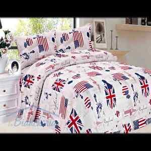 Copripiumino Inglese.Copripiumino Kamomilla Bandiera Inglese Americana Matrimoniale 2