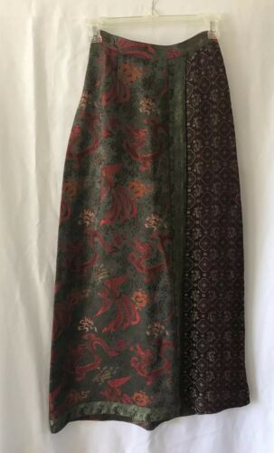CITRON Multicolored Asian Dragon Print Skirt Sz XS