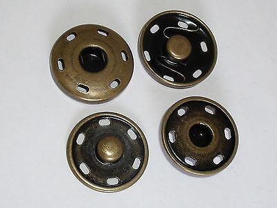 20 Stück große Druckknöpfe Druckknopf zum Annähen 25 mm altmessing NEU rostfrei