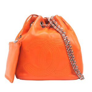 Auth CHANEL CC Mark Mini Chain Backpack Orange Lambskin Pouch Women